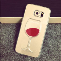Flowing Liquid Red Wine Glass Cup Lip Capa Case for Samsung Galaxy S7 Edge S7 S6 Edge S6 S5 Note 5 4 3 iPhone 7 7 Plus 6 6S 5S 5
