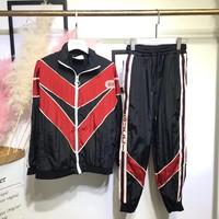 Gucci Stripe Nylon Jacket Jogging Pant Set Two-Piece Sportswear