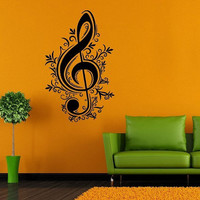 Wall Decor Vinyl Sticker Room Decal Art Music Note Key With Flowers Grass 962