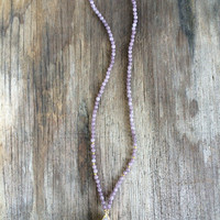 Long Beaded Agate Druzy Necklace with White Druzy Drusy Geode Teardrop Pendant and Light Purple Beads