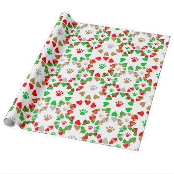 Christmas Pet Paw Print Heart Wrapping Paper