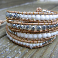 Beaded Leather Wrap Bracelet 4 or 5 Wrap with Silver and White Czech Glass Beads on Natural Leather for Winter Holidays