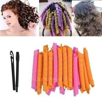 20Pcs DIY Magic Hair Curlers Curl Formers Spiral Ringlets Leverage Rollers  (20pcs +2) [8323206529]