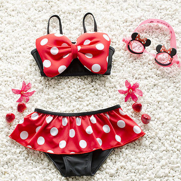 Mickey Minnie Baby Girl Bow Bikinis Set bikini 2017 Bathing Suit Swimwear plavky Tankini Swimsuit biquini Costume