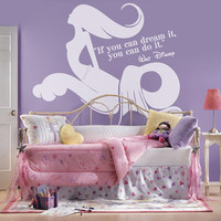 I195 Wall Decal Vinyl Sticker Art Decor Design tale mermaid fish ocean inscription quote tail water childhood dream girl Living Room Bedroom