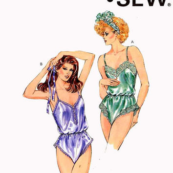80s Teddy lingerie sewing pattern Kwik Sew 1586 Size XS to Small