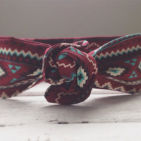 Southwestern Aztec Tribal Music Festival Summer Concert Hippie Twist Head Scarf Dolly Bow Wire Headband Bun Wrap