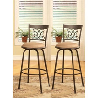 Set of 2 - Scroll Back Metal Swivel Seat Bar Stools Counter Height