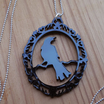 Elegant Raven Laser Cut Necklace - Black Acrylic Silhouette Jewellery