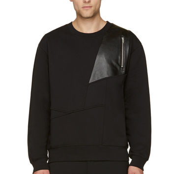 Mcq Alexander Mcqueen Black Abstract Leather Panel Sweater