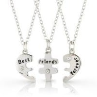 RevoLity Best Friends Forever Three Part Necklace, Friendship Necklace with the Beautiful Gift Bag