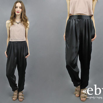 Black Pants Genie Pants High Waisted Pants Black Trousers High Waist Pants Pleated Pants Silky Black Pants Date Night Outfit 90s Pants M L