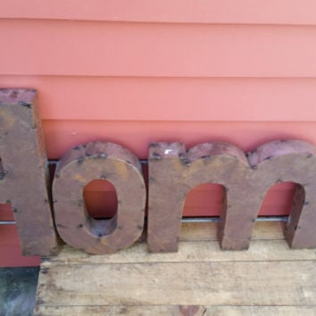 HOME sign  made from recycled tin metal rusty r...