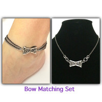 Bow jewelry / bow chain anklet and necklace / chain jewelry / metal silver jewelry / bow necklace / popular jewelry