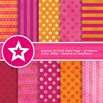 American Girl Dolls Digital Paper, bright colored orange & pink backgrounds, stars, stripes and circles, Buy 2 Get 1 Free, Instant Download