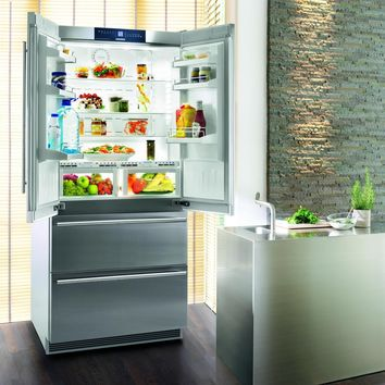 Liebherr Premium NoFrost 36 Inch Freestanding Semi Built-in French Door Refrigerator/Freezer Ice Maker