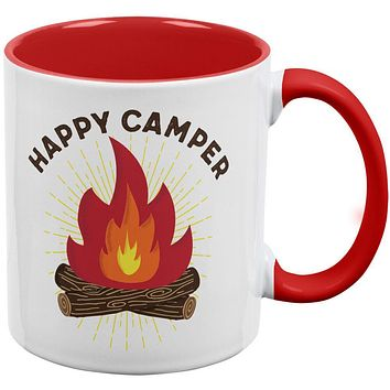 Hiking Happy Camper Campfire Red Handle Coffee Mug