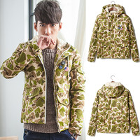 Camouflage Drawstring Hooded Jacket