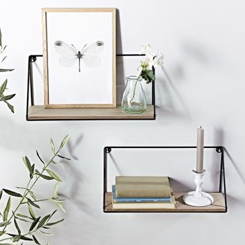 Two Industrial Wood & Metal Shelves - Small - Indoor Living