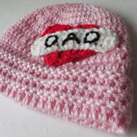 Pink Biker Baby Beanie - I love Dad - Baby Hat - Handmade Crochet - Ready to Ship