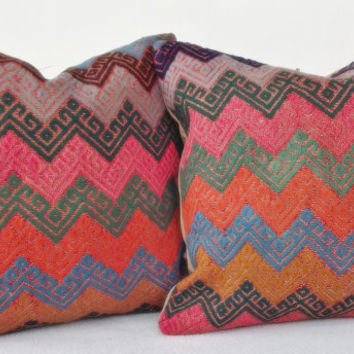 SET Handwoven Turkish Kilim Pillow,Chevron  Pink Decorative Kilim Pillow, Handembroidery Cicim Throw Pillow 15' x 15' INCH
