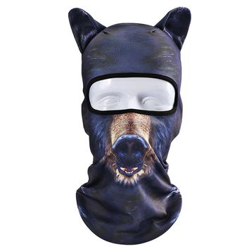 3D Animal Ears Balaclava Hood Breathable Windproof Cover Face Mask Neck Warmer UV Protection Outdoor Sports Motorcycle Cycling Skiing Hunting Tactical CS Game Bear Halloween Cosplay