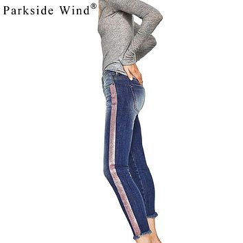 PARKSIDE WIND Side Striped Jeans Women Washed High Waist Ankle Length Skinny Jeans Autumn Denim Jeans Femme KWA0322-5