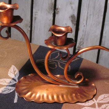 Copper Candle Holder, Gregorian, Solid Copper, Made in USA