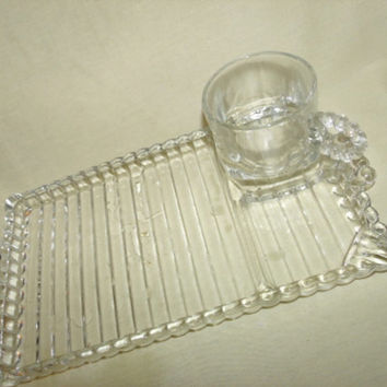 Hazel Atlas Orchard Glass, Snack Sets, Rectagular Plates and Cups, 6 Pieces