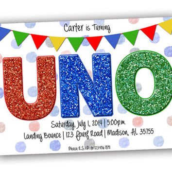 Uno First Birthday Invitation - Uno BirthdayParty Invitations - ONE Birthday Invites - 1st birthday girl - 1st birthday boy - glitter uno