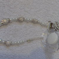 Diamonds and Pearls Elegant Beaded Rhinestone Pacifier Clip