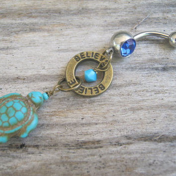 Believe Sea Turtle Belly Ring, BRONZE Turquoise Howlite Turtle Belly Button Ring, Nature Navel Ring, Piercing, Turtle Body Jewelry, Tortoise