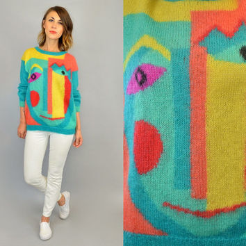 1980s PICASSO ABSTRACT FACE novelty surrealism mohair fuzzy sweater jumper, extra small-small