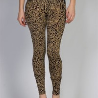 Eccentric Patterned High Waisted Scuba Leggings - Black from Alt.B at Lucky 21 Lucky 21