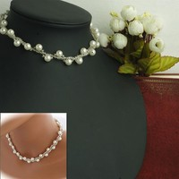 171124 Party Accessories All-match Pearl Necklace Handmade Beaded Short C1219