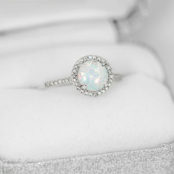 Sterling Silver 7mm Round Created White Opal & .01 CTW Diamond Halo-Style Ring