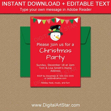 Christmas Party Invitations, Snowman Invitations, PRINTABLE Holiday Invites, Kids Christmas Invites, EDITABLE Snowman Birthday Template C2