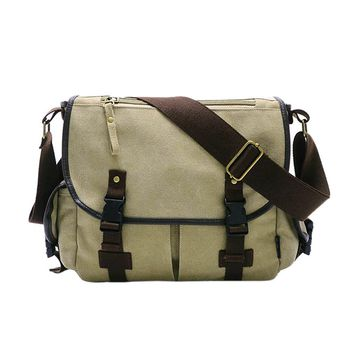 New Canvas Messenger Bags Men's Solid Cover Button Casual School Shoulder Bags Male Big Capacity Cross Body Bag  LXX9