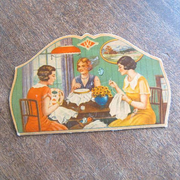 Figural Clark's Needle Threader + 1930s Women's Sewing Circle Graphic 'W' Needle Book; Evocative Vintage Sewing; U.S. Shipping Included