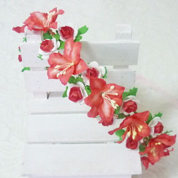 Red flower crown rose lily Flower headpiece Flower headband  /Rustic crown /Flower headpiece /Flower hair wreath party flower PP1