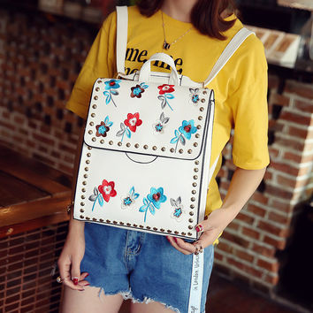 Style Embroidered Sac A Main flower Femme Women Backpack For Teenage