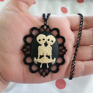 Conjoined Skeleton Twins - Pendant