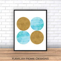 Watercolor print, Abstract art, minimalist print, yellow blue wall art, yellow blue decor, Geometric art, home art, simple art, Blue art