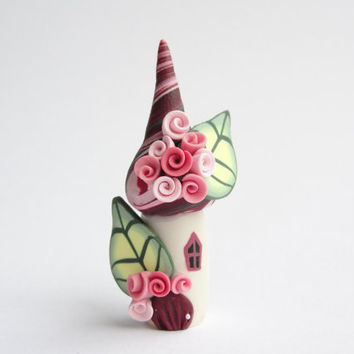 Polymer clay fairy house home miniature in deep red and pink