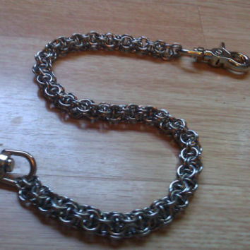 "Stainless Steel Chainmail Wallet Chain Captive Inverted Round 22"" Biker Goth Rocker Trucker"