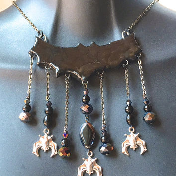 Halloween Bat Necklace, bib ceramic essential oil diffuser necklace aroma therapy necklace goth jewelry witch costume jewelry victorian