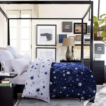 ONETOW 1-pieces Blue White Stars Prints  Comforter QUILT