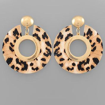 Leopard Fan Drop Earring