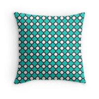 White Black and Turquoise Quatrefoil Pattern by TigerLynx