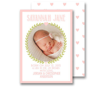 Floral Heart Modern Pink Baby Girl Birth Announcement Custom Digital Printable Card